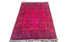 Hand Crafted, KHAL MOHAMMADI Wool Carpet, Afghan Rugs, Area Rug, Red Carpet, 100% Wool, 5 ft. x 3 ft.
