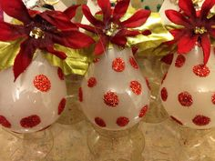 Recycled Red Glitter Polka Dot Lightbulb Ornament by CreateItGreen, $12.50