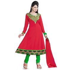 c9fd531fee Rs.749, Buy Online Georgette Zari Work Red Unstitched Churidar Suit - RA107  - Shree Vardhman - Reviews - IndiaRush