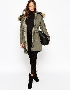 Image 4 of ASOS Parka With Detachable Faux Fur Liner