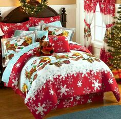 Christmas Candyland theme bedroom decorations - Christmas home decor - Christmas Decorations - Christmas holiday fun decorating ideas - Victorian style decorating - gifts for Christmas shopping - christmas bedding - Christmas holiday bedding Christmas Bedding, Christmas Interiors, Christmas Cushions, All Things Christmas, Christmas Home, Christmas Deer, Share Pictures, Best Sheets, Quilt Cover Sets