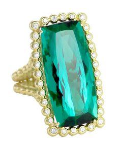 Suzy Landa | 21.5ct Green Tourmaline, 18k Yellow Gold with White Diamond Halo | Max's