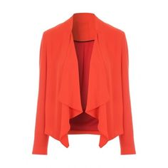 Jane Norman Orange Chiffon Waterfall Jacket ($15) ❤ liked on Polyvore featuring outerwear, jackets, red jacket, chiffon jacket, layered jacket, jane norman and long sleeve jacket