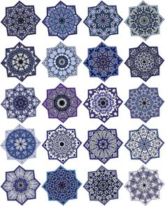 ArtbyJean - Paper Crafts: Eight pointed star shaped medallions, 20 different ones on digital collage sheet Doodle Patterns, Tile Patterns, Pattern Art, Textures Patterns, Islamic Art Pattern, Arabic Pattern, Geometric Pattern Design, Geometric Art, Motif Oriental
