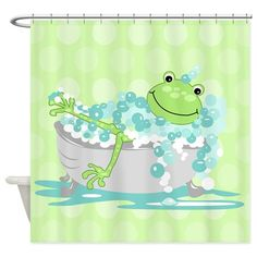 Frog in Tub Shower Curtain (Green) Shower Curtain on CafePress.com