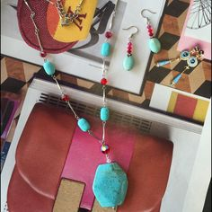 Red Aurora Beads And Blue Necklace Earrings Set