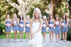 I like this shade of blue for the bridesmaids!