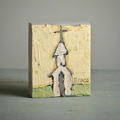 church wooden block on yellow
