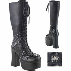 Widow Stomper Awe inspiring black vegan leather, front lace-up knee # boots with a full inside zip. They also feature a inch heel and 2 inch toe platform with studded panels and a metal spider bow at the toe! Knee High Platform Boots, Knee Boots, Heeled Boots, Platform Shoes, Botas Goth, Gothic Shoes, Gothic Clothing, Goth Boots, The Violet