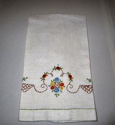 Vintage Linen Kitchen Towel With by VintageLinenGallery on Etsy