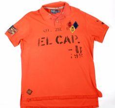 Polo Ralph Lauren XL Orange Basketball El Cap Mesh Polo Shirt NWT $125 FLAG #PoloRalphLauren #PoloRugby