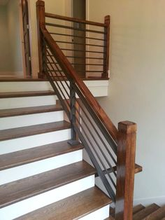 Staircase. white and wood