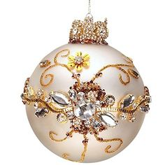 Mark Roberts Jeweled White with Clear Jewels Ball Ornament - Holiday Lane - Macy's Jewelry Christmas Tree, Beaded Christmas Ornaments, Handmade Ornaments, Ball Ornaments, Christmas Tree Decorations, Christmas Crafts, Glitter Ornaments, Painted Ornaments, Felt Christmas