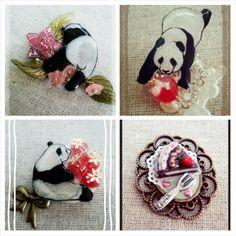 いちごとパンダをモチーフで帯留めを作って欲しい!というorderで作りました。|ハンドメイド、手作り、手仕事品の通販・販売・購入ならCreema。