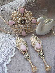 soutache Soutache Pendant, Soutache Necklace, Bead Earrings, Fabric Jewelry, Beaded Jewelry, Handmade Jewelry, Soutache Tutorial, Gothic Jewelry, Jewelry Crafts