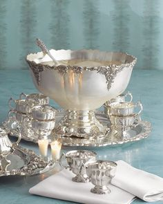 Wallace Grande Baroque Sterling Silver Tea, Punch, and Bowl service Silver Trays, Silver Spoons, Silver Plate, Vintage Silver, Antique Silver, Tarnished Silver, Silver Tea Set, Punch Bowl Set, Butler Pantry