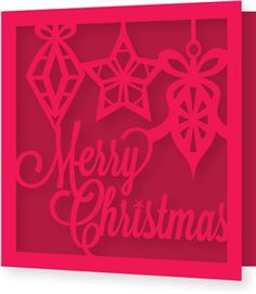 Silhouette Online Store: merry christmas script lettering single fold square card