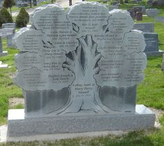 family tree headstone (this must be the back side because I see no birth or death dates)