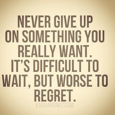 Never give up on something you really want. Its difficult to wait, but worse to regret