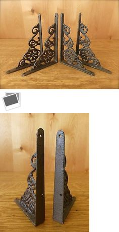 4 WHITE ANTIQUE-STYLE 5.5 SHELF BRACKETS CAST IRON garden rustic fleur ARROW Architectural & Garden