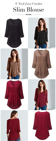 US$ 10.81 Sexy Casual V Neck Lace Crochet 3/4 Sleeve Slim Blouse for Women