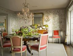 Love the chair fabric color...this dining room is so traditional yet whimsical and refreshing!