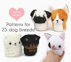 Teacup Puppies! Printable sewing pattern with video, photo & text instructions to make cute puppy dog plush stuffed animals. Make cute, rolly polly gifts for dog lovers! Simplified body pattern so you can spend your time customizing the markings; it takes about 1.5-2 hours to make.