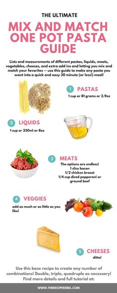Mix and match one pot pasta guide: I'm giving you lists and measurements of different pastas, liquids, meats, vegetables, cheeses, and extra add ins and letting you mix and match your favorites -- use this guide to make any pasta you want into a quick and easy 30 minute (or less!) meal!