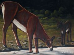 Roe deer with a fawn by the brook : Niko Pirosmani : Naive Art (Primitivism) : wildlife painting - Oil Painting Reproductions Wall Art Prints, Canvas Prints, Roe Deer, Muse Art, Wildlife Paintings, Art Database, Oil Painting Reproductions, Naive Art, Canvas Pictures