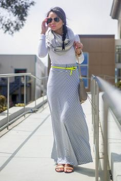 Sexy doesn't have to be revealing! Classic example. Neon, Stripe, Maxi Skirt, Aviators
