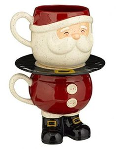 Unique Stacked Santa Claus Milk & Cookie Plate Gift Set
