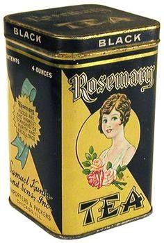 vintage tea caddy from Samuel Kunin and Sons Inc. Tea Canisters, Tea Tins, Tea Caddy, Rosemary Tea, Vintage Tins, Vintage Teacups, Retro, Vintage Packaging, Cuppa Tea