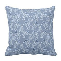 Chic Indigo Blue Ethnic Floral Print Pillow