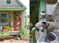 My galvanized watering cans were collected over the years from flea markets and antique malls, some European, but most made in USA. They're a rag-tag bunch, complete withdents and missing ro…