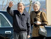 Emperor Akihito and Empress Michiko wave to wellwishers on arrival at a commercial complex 'Seapal Pier' on March 17 2016 in Onagawa Miyagi Japan The...