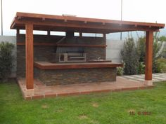 Pergola With Glass Roof Info: 3892670128 Dream Patio, Patio Design, Diy Patio, Outdoor Kitchen Grill, Backyard Pavilion, Kitchen Fireplace, Patio Flooring, Outdoor Kitchen Patio, Carport Makeover