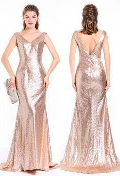 074bf0006ac Robe glamour de gala longue pour noel avec sequin bling bling en sirène  encolure V dos ouvert