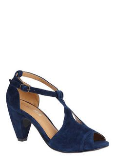 Suede and Swing Heel: Love the vintage feel of these heels!