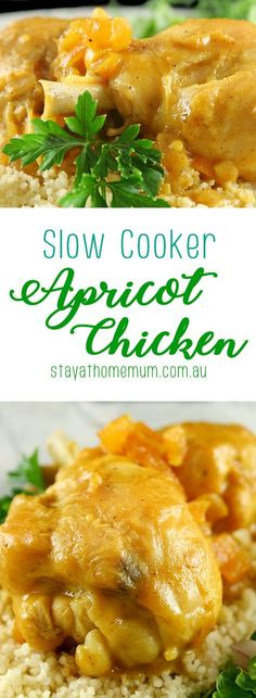 I love Slow Cooker Apricot Chicken  – it bubbles away all day making you so hungry. The kids are huge fans too.  I love it served with mashed potato, but then you can have it on anything really, Enjoy!