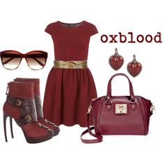 """""""Oxblood / maroon / burgundy outfit"""" by xoxo-jenny on Polyvore"""