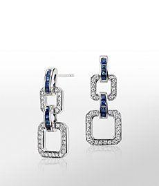 Monique Lhuillier Blue Sapphire and Diamond Geometric Drop Earring