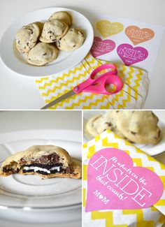 Oreo stuffed cookies (with printable tags)