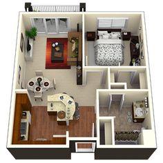 50 Plans En 3D D'appartement Avec 1 Chambres Sims Apartments