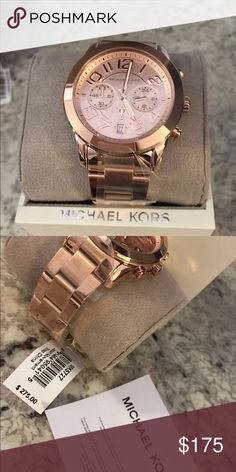Mk watch guaranteed authentic new with box Authentic Mk watch unisex  with warranty card.  Calendar watch rose gold .  Ship when it sold money back guarantee. It comes with the tag KORS Michael Kors Accessories Watches