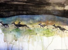 Wild dogs of Serengeti plain in Africa, Painted Dogs, Hunting Dogs, Painting, Watercolour, skies, hunt, deer, wildlife