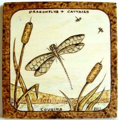 """7-2011, """"Dragonfly and Cattails"""", lake and mountains."""