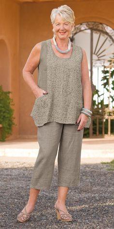 Kasbah taupe/cream linen combi vest and taupe linen crop trouser