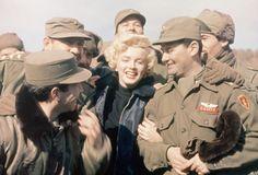 Marilyn Monroe Entertaining Troops: American movie actress Marilyn Monroe entertains a group of soldiers in Korea.