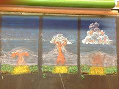 Waldorf ~ 6th grade ~ Geology & Mineralogy ~ Volcano ~ chalkboard drawing