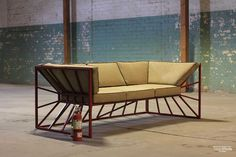 Hourglass Couch - Steel Frame - Recycled Military Poncho Upholstery: District Millworks